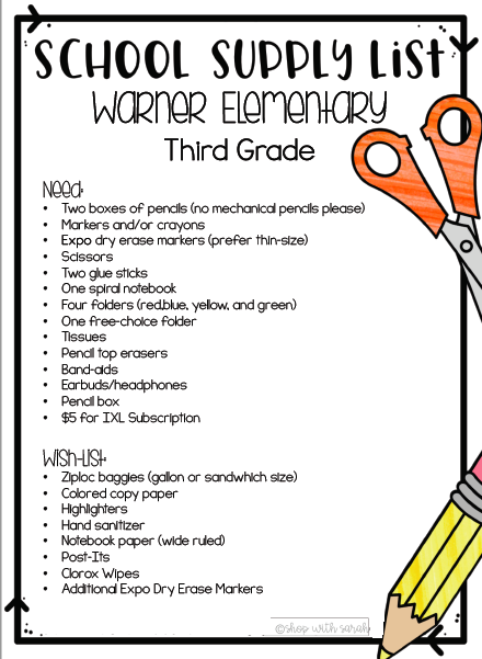 School Supply Lists! - Warner Elementary School