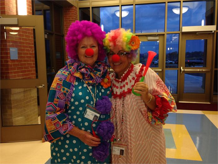Mrs. McNeal and Mrs. Carlola dress up for 98% attendance